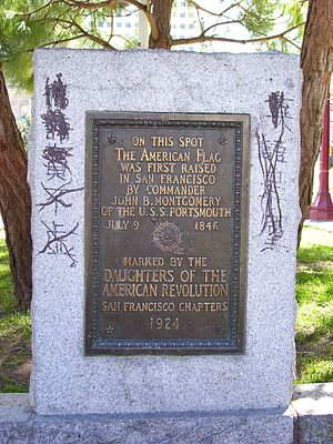 Portsmouth Square - A marker to commemorate the raising of the first American flag in San Francisco (then Yerba Buena)