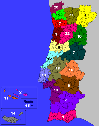 Portuguese District Football Associations - Map showing the Portuguese municipalities arranged by their respective District Football Associations