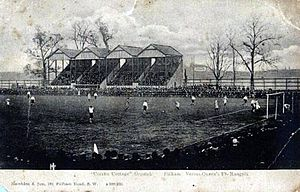 "Fulham F.C. - The ""Rabbit Hutch"" stand along Stevenage Road sometime before Archibald Leitch's redesign in 1904–05"