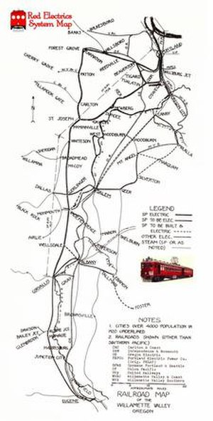 Southern Pacific Red Electric Lines - Route of former service