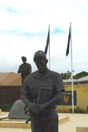 Robert Hitchcock - One of the three SAS sculptures by Hitchcock at the 'Garden of Reflection', Perth WA