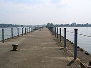 The pier at Ontario Beach Park offers views of Lake Ontario and is a popular walk for Rochesterians