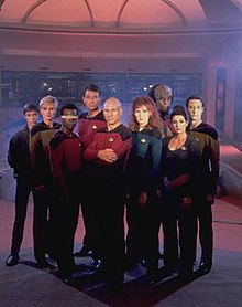 A photo of the Star Trek: The Next Generation season one characters in costume