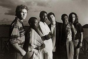 Savuka - Savuka, 1993.  L-R: Derek De Beer, Mandisa Dlanga, Solly Letwaba, Johnny Clegg, Steve Mavuso, Keith Hutchinson