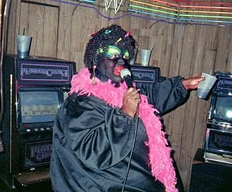 """Chuck Knipp - Chuck Knipp, performs in blackface as Shirley Q. Liquor in New Orleans at the """"Good Friends"""" bar. 2001"""
