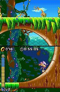 Blaze runs through a loop in an early level of the game demonstrating