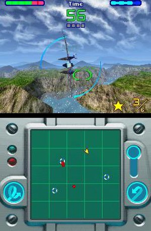 Star Fox Command - Screenshot showing the upper and lower screens during gameplay