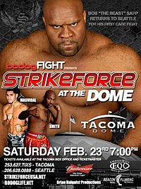 A poster or logo for Strikeforce: At The Dome.