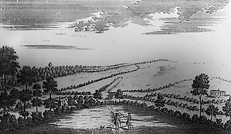 Julliberrie's Grave - One of Stukeley's three engravings of the barrow, 1724. Julliberrie's Grave is in the centre of the image, situated within its 18th century landscape context