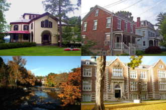 Poughkeepsie (town), New York - Clockwise from top left: Locust Grove, Stone Street Historic District, Vassar College, Red Oaks Mill