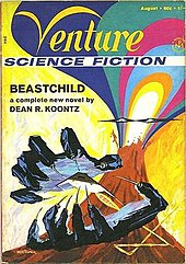 Cover shows a drawing of a pair of hands with needles for fingernails with a spaceship flying between the hands. In the background is an impressionistic drawing of a volcano erupting.