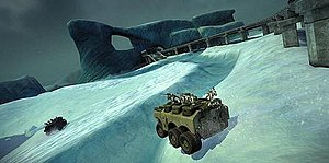 Warhawk (2007 video game) - The armored personnel carrier in the Vaporfield Glacier map.
