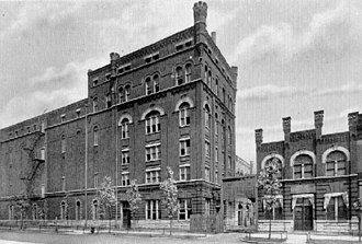 Bridgeport, Chicago - The White Eagle Brewing Company building in Bridgeport, designed by John S. Flizikowski, once stood at the corner of W. 37th Street and South Racine.