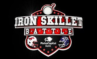 SMU–TCU football rivalry - Image: 2014 Battle for the Iron Skillet logo