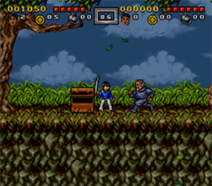 3 Ninjas Kick Back (video game) - Colt fighting in The Woods zone.