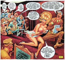 Comics panel of a nude blonde woman in a room full of men