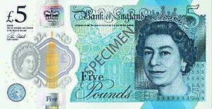 Bank of England £5 note - Image: Bank of England £5 obverse