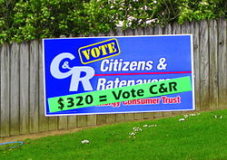 "C&R posters with slogan ""$320 = Vote C&R"""