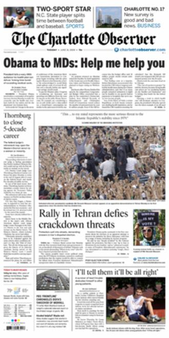The Charlotte Observer - Image: Charlotte Observer Tuesday 6 16 0000