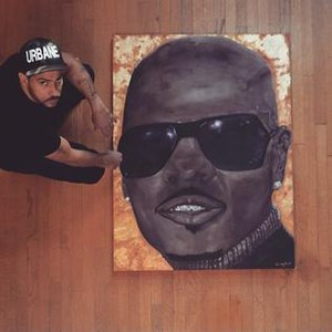 """Kris Kross - Chris Smith Urbane Muse Black Shades Oil and Gold Leaf on Panel 36"""" x 48""""."""