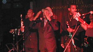 Buena Vista Social Club - Compay Segundo saying goodbye to the audience at the Hotel Nacional de Cuba, Havana. October 2002