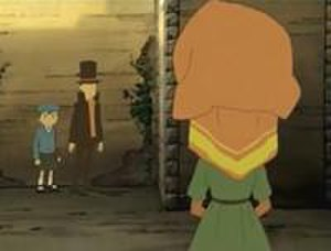 Professor Layton and the Curious Village - A still from a cutscene within Professor Layton and the Curious Village. Cutscenes in the Professor Layton series are fully animated.