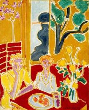 Deux fillettes, fond jaune et rouge - Image: Deux Fillettes