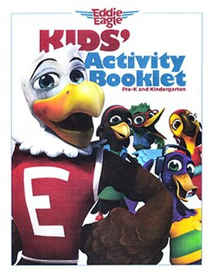 Eddie Eagle - The cover art for the Eddie Eagle Kids' Activity Booklet, Pre-K and Kindergarten edition.