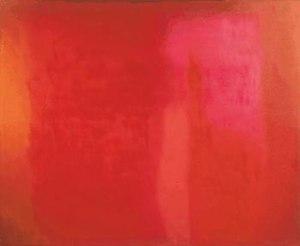 Esteban Vicente - Red Field, 1972, oil on canvas, 56 1/8 x 68 1/8 inches, Museo de Arte Contemporáneo Esteban Vicente