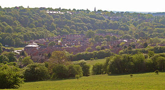 Meanwood - View of Farm Hill Way and Boothroyd Drive, showing the Model Farm towards the bottom left. Meanwood Cricket Club can also be seen.