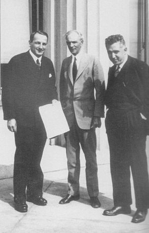 Valery Mezhlauk - After signing the contract for technical assistance in building the Nizhnii Novgorod (Gorky) Automobile Plant. Dearborn, Mich., May 31, 1929. Left to right, Valery I. Mezhlauk, Vice Chairman VSNKh of the USSR; Henry Ford; Saul G. Bron, President of Amtorg.