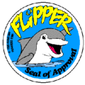 """Flipper Seal of Approval"" dolphin safe label."