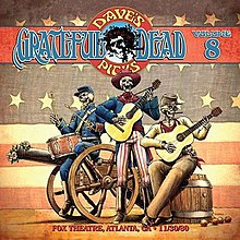 Three skeletons wearing Civil War-era clothing play acoustic guitars and a snare drum. One of them sits on a cannon that has flowers in its muzzle.