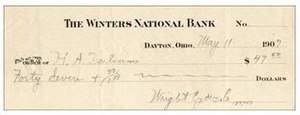 """Harry Aubrey Toulmin Sr. -  Partly Printed Check filled out to H.A. Toulmin and signed by """"Wright Cycle Co./W.W."""" in Dayton, Ohio, May 11, 1907."""