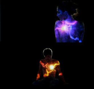 """Heartbeat (Enrique Iglesias song) - Scherzinger (top) and Iglesias (bottom) seen as digitally added """"Heartbeats"""" are added with streaks of blue and red color."""