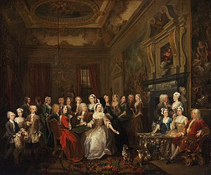 William Hogarth - The Assembly at Wanstead House. Earl Tylney and family in foreground
