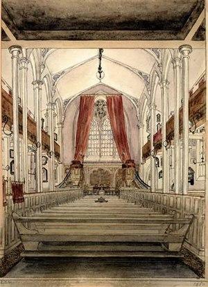 St Mary's Parish Church, Hampton - The interior in 1860