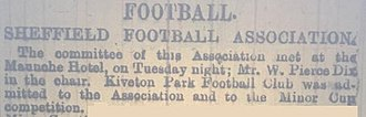 Kiveton Park F.C. - Sheffield Independent article from September 1883 announcing the club's affiliation with the Sheffield FA