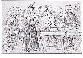 Margaret Bondfield - Cartoon showing Bondfield addressing a NAUSAWC recruitment meeting, July 1898