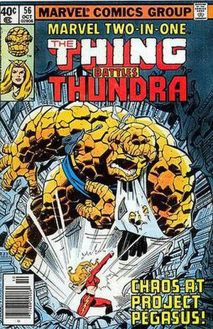 Thundra - Thundra clobbers the Thing. Art by John Byrne and Terry Austin.