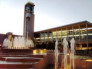 Missouri State University - Duane G. Meyer Library and Jane A. Meyer Carillon with the John Q. Hammons Fountain