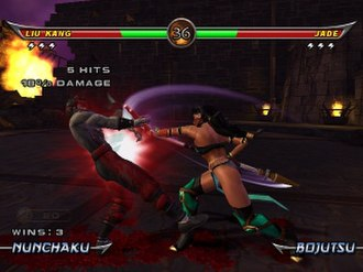 Mortal Kombat: Armageddon - The Xbox version gameplay screenshot, showing a fight between the zombie Liu Kang and Jade