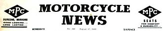 Motor Cycle News - August 1960 example of Title reformatted from original Italicised script
