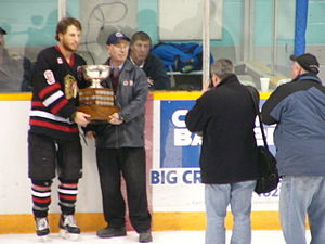Southern Ontario Junior Hockey League - Mitchell Hawks Captain accepting OHA Cup as 2006-07 Playoff Champion.