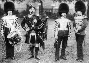 Scots Guards drummer, piper, bugler and bandsman, around 1891