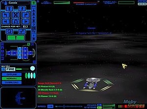 History of Star Trek games - Main screen of Star Trek: Starfleet Command showing player ship with commands on left side.