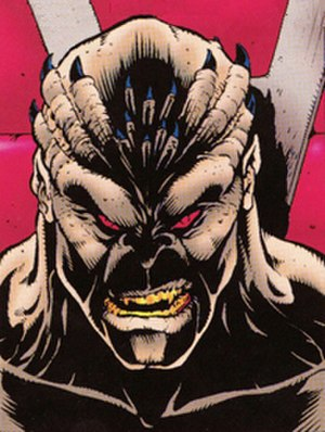 Shao Kahn - An unmasked Shao Kahn, as depicted in the Mortal Kombat II comic book by John Tobias