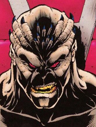Shao Kahn - An unmasked Shao Kahn in the Mortal Kombat II comic book by John Tobias
