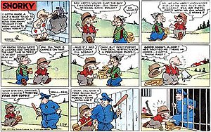 Pete the Tramp - Pete the Tramps topper strip, Snorky (January 24, 1937)