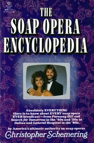 The Soap Opera Encyclopedia (Schemering book) - US first edition cover, featuring Kristian Alfonso and Peter Reckell of Days of Our Lives